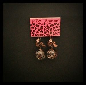 Betsey Johnson Bow and Leopard Drop Earrings